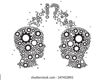 gears and cogs in form two heads