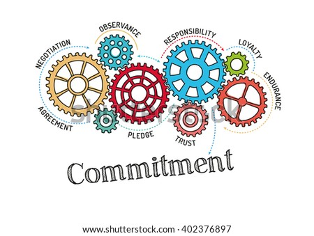 gears commitment mechanism stock vector royalty free 402376897