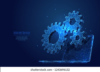 Gears. Computer service concept. Gearing on laptop. Vector low poly wireframe in the form of a starry sky or space, consisting of points, lines, and shapes in the form of stars with destruct shapes.