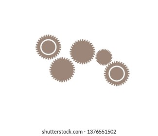 gears for cooperation or teamwork symbolism icon vector.