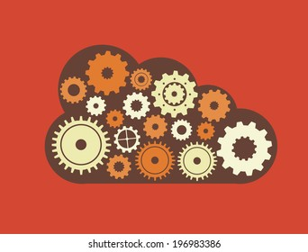 Gears design over red background, vector illustration