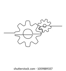 Gears are drawn by a single line on a white background. Single line drawing. Continuous line. Vector Eps10