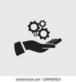 Gears In Hand, Vector icon