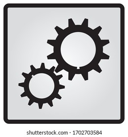 Gears icon in flat style, element for infographic and presentation. Vector drawing.Isolated white background.