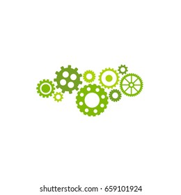 Gears icon isolated on white background. Combination of pinions of bright green colors. Vector flat illustration for technology or innovation. Mechanism chain pictogram. Circuit sign.