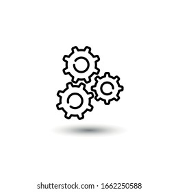 gears. icon in a linear style.