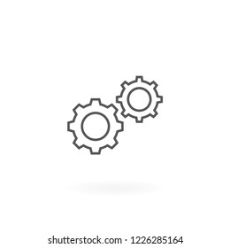 Gears icon. Vector of gears symbol industrial. Cogwheel thin line icon