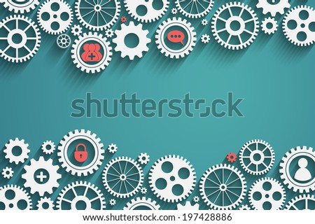 gears with icons inside, add friend, bubble, lock and other, vector eps10