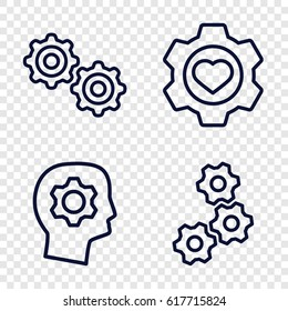 Gears icons set. set of 4 gears outline icons such as heart in gear, gear