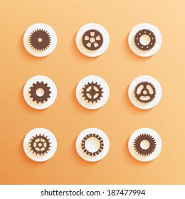 Gears icons set. Round buttons. Vector illustration EPS10.