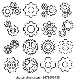 Gears icons vector set. Gear icon. Settings or options Illustration symbol.