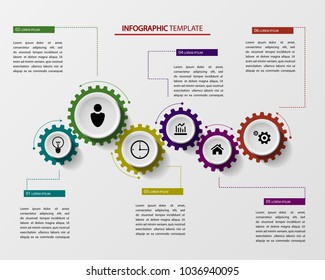 Gears Infographics, a template for the successful planning of ideas for business steps. Vector illustration