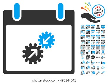 Gears Integration Calendar Day icon with bonus calendar and time management graphic icons. Vector illustration style is flat iconic symbols, blue and gray colors, white background.