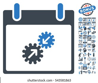 Gears Integration Calendar Day icon with bonus calendar and time management images. Vector illustration style is flat iconic symbols, smooth blue, white background.