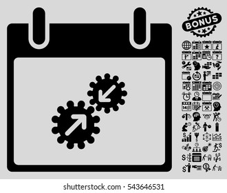 Gears Integration Calendar Day icon with bonus calendar and time management graphic icons. Vector illustration style is flat iconic symbols, black, light gray background.