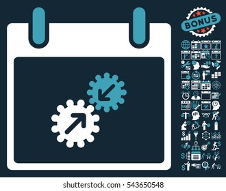 Gears Integration Calendar Day icon with bonus calendar and time management graphic icons. Vector illustration style is flat iconic symbols, blue and white, dark blue background.