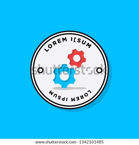 Gears Logo Template Badge Sticker Design Stock Vector (Royalty Free