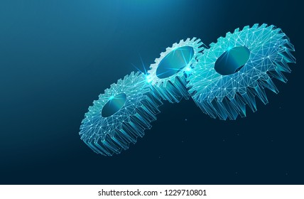Gears. Mechanical technology machine engineering symbol. A gearing composed of polygons. Low poly vector illustration Industry development, engine work, business solution concept.
