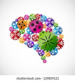 Gears mind. EPS10 vector