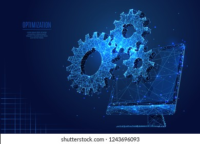 Gears on computer background. Low poly wireframe vector polygonal illustration. Digital computer service concept. Isolated gearing on screen. Mechanical technology machine engineering symbol.