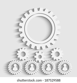 gears on a creative background, human resourses concept with man siluets