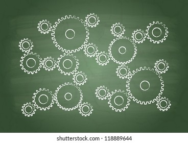 Gears on a green school board