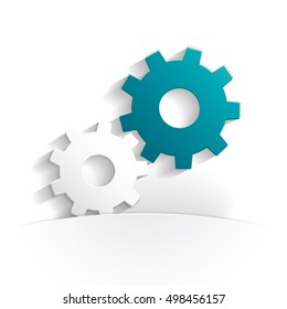 gears paper icon style full vector
