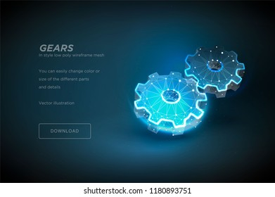 Gears. Polygonal wireframe art on black backgraund. Concept interaction or Engine work or technology. Polygonal illustration with connected dots and polygon lines. 3D vector wireframe mesh