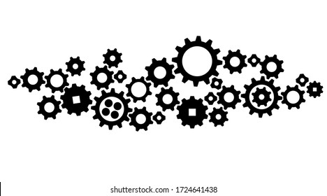 Gears in Progress., icon, vector Isolated illustration