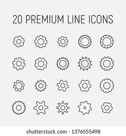 Gears related vector icon set. Well-crafted sign in thin line style with editable stroke. Vector symbols isolated on a white background. Simple pictograms