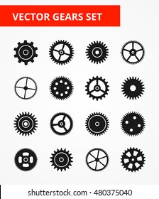 Gears Set. Isolated black gear icons - vector illustration.