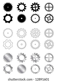 Gears of several types, shapes and colours in a industry related collection