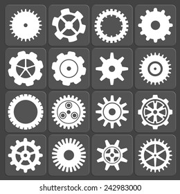 Gears shapes vector set, tooth wheels icons for web and app
