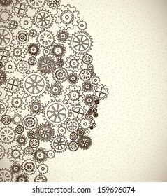 gears skin over beige background vector illustration