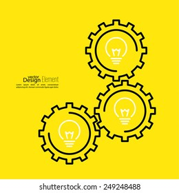 Gears symbol and Bulb light. Concept of motion and mechanics, connection and big ideas inspiration innovation, invention, effective thinking.