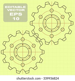 Gears symbol. Concept of motion and mechanics, connection and operation engineering design work. vector. minimal. Outline.