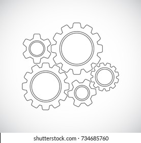 gears teamwork mechanism - concept icon