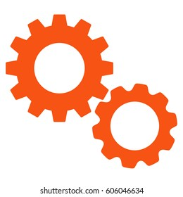 Gears vector icon. Flat orange symbol. Pictogram is isolated on a white background. Designed for web and software interfaces.