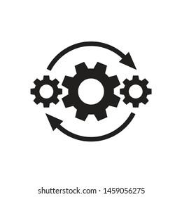 Gears wheel with arrows - concept black icon vector design. SEO creative logo sign. Exchange interaction symbol.