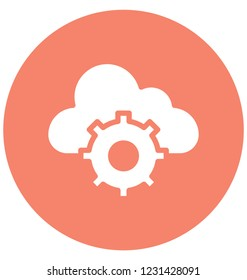 Gearwheel, Cloud Isolated Vector Icon That can be very easily edit or modified.