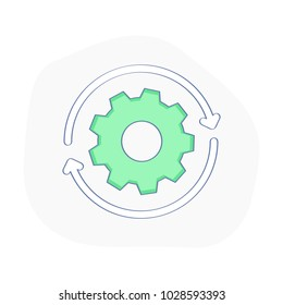 Gearwheel in motion, Rotation Direction icon with round arrow. Process, Machine Engine, Cog Wheel Rotation, Progress, Settings, Wheel or Repair. Industrial vector illustration concept.