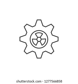 Gearwheel with radiation sign icon. Simple outline vector of Sustainable Energy set icons for UI and UX, website or mobile application