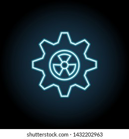 Gearwheel with radiation sign neon icon. Simple thin line, outline vector of Sustainable Energy icons for UI and UX, website or mobile application