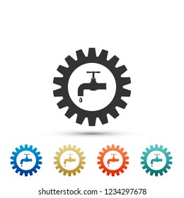 Gearwheel with tap icon isolated on white background. Plumbing work symbol. Set elements in colored icons. Flat design. Vector Illustration