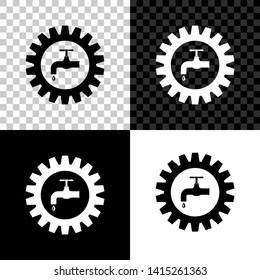 Gearwheel with tap icon isolated on black, white and transparent background. Plumbing work symbol. Vector Illustration