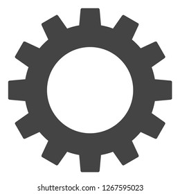 Gearwheel vector icon on a white background. An isolated flat icon illustration of gearwheel with nobody.