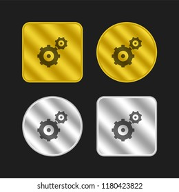 Gearwheels couple gold and silver metallic coin logo icon design