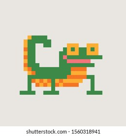 Gecko, lizard pixel art style icon. 8-bit sprite. Reptile animal isolated vector illustration. Design for stickers, logo, embroidery, mobile app.