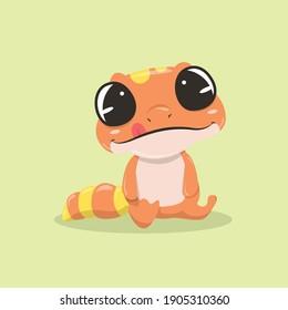 Gecko Vector Illustration Orange and yellow