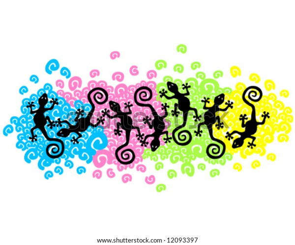 geckos or lizards floating over multicolor bed of spirals